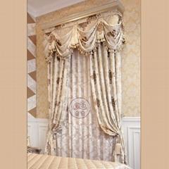 米色欧式大花客厅窗帘