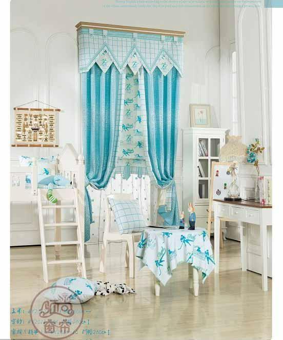 窗帘蓝色竖条地中海英伦 3