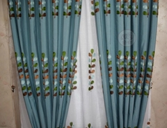 窗帘绿色大树纯棉绣花遮光