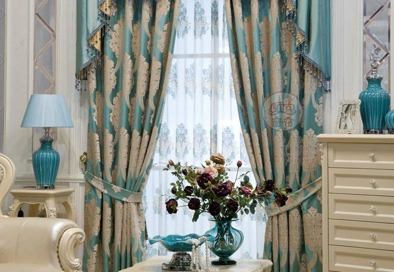 窗帘进口奢华蓝色绒布客厅 1