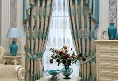 窗帘进口奢华蓝色绒布客厅