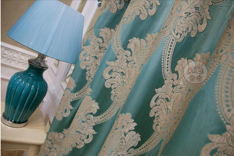 窗帘进口奢华蓝色绒布客厅 3