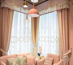 粉色公主房窗帘浪漫清新淡雅西安窗帘領尚布藝