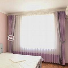 窗帘棉加絲提花藍色