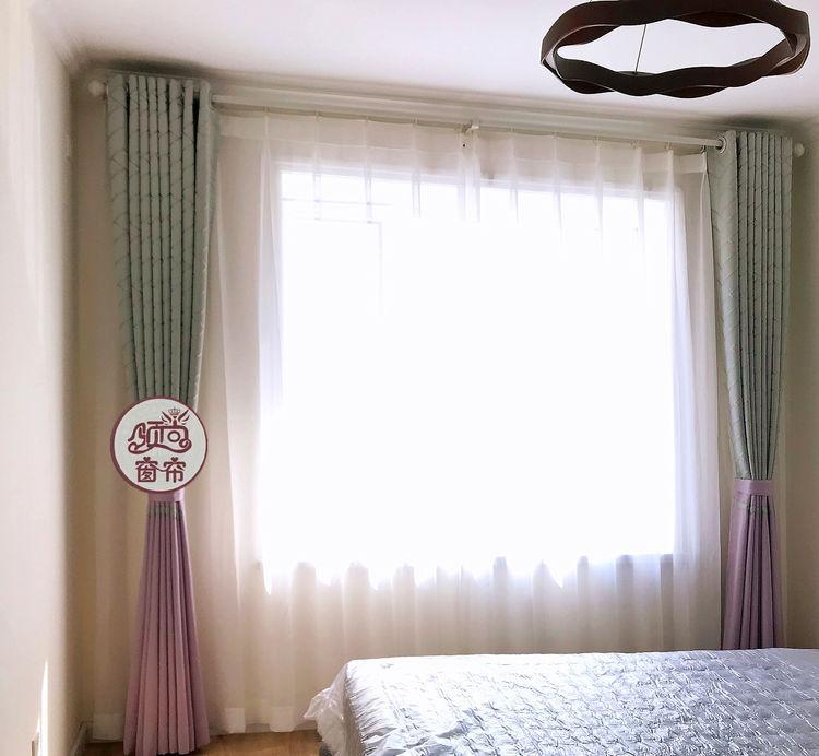 窗帘棉加丝提花蓝色 2