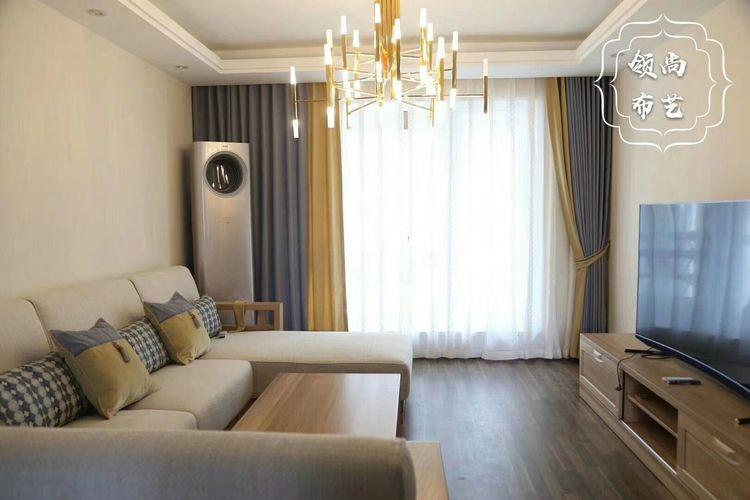 高级灰柠檬黄客厅窗帘 5