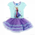 Frozen Elsa and Anna Tutu Dress Short Sleeve Shimmer Frozen Dress