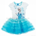 Frozen Elsa Short Sleeve Shimmer Mesh Tutu Dress Frozen Dress