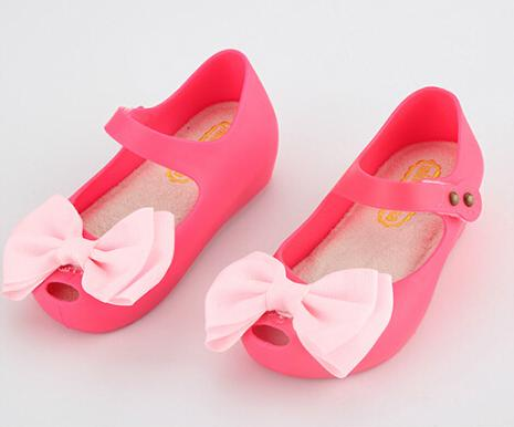 Mini Melissa Girls Sandals Summer style kids shoes Cute Bow Children Bowtie Baby 18