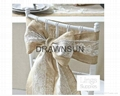 15cm W * 275cm L Burlap Hessian Jute and Lace Chair Sash for Vintage Rustic Wedd