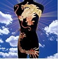 50*120cm large golden dragon paillette embroidery on mesh cloth applique diy