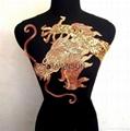 50*120cm large golden dragon paillette embroidery on mesh cloth applique diy