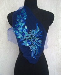 Blue Gold sequins embroidery cloth sewn without glue ear tail show dress decorat