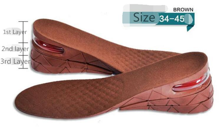 Height Increase Adult Insole Adjustable 3-Layer 7CM Air Cushion Invisible Pads  2