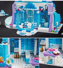 Girl Series Snow Queen Elsa Magic Ice Castle Palace DIY Set Model Building Kits