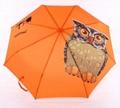 Orange Green Light Original Animal Owl Printed Automatic 3 Fold Umbrella