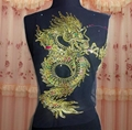 22*35cm large dragon embroidery on black gauze with paillette sew-on applique