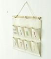 Zakka Style 5 Color Weekday Wall Sundry Fabric Cotton 8 Pockets Hanging Wall bag