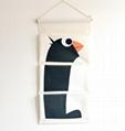 Zakka Style Cartoon Animal Door Hanging Bag Linen Cotton Hanging Organizer Wall
