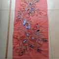 65*130cm large phoenix tail embroidery & paillette applique on mesh cloth
