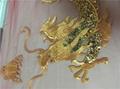 50*120cm Large Golden Dragon Paillette Embroidery On Mesh Cloth Applique  Patch
