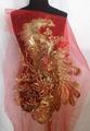 60*95cm Large Phoenix Sequin Embroidery Patch Applique On Black Mesh Clothes