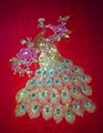 30*43cm red colorful peacock paillette embroidery applique with imitated diamond