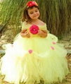 Belle Princess Tutu Dress Girls Tulle Party Wedding Flower Girl Dresses Yellow