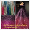 Width 130CM Gradient Sequins Fabric Rose Gold Black Red DIY Sparkly Fabric