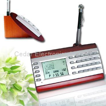 Wood Base Desk Perpedual Calendar w/ World Clock Calculator 5