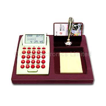 LCD Calendar Calculator on Stationery Wood Base 1