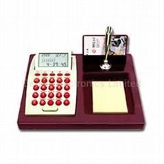 红木文具座电子计算器万年历