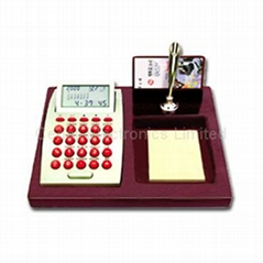 LCD Calendar Calculator on Stationery Wood Base