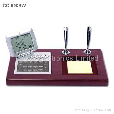Wood Base Desk Perpedual Calendar w/ World Clock Calculator 1