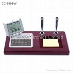 红木座电子万年历台历(世界时钟,计算器)