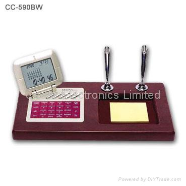 Wood Base Desk Perpedual Calendar w/ World Clock Calculator 2