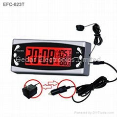Car Digital Clock with Indoor / Outdoor Thermometer