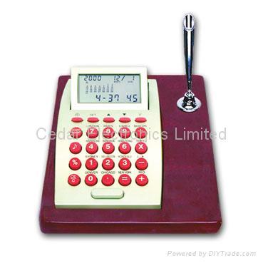 LCD Calendar Calculator on Stationery Wood Base 2