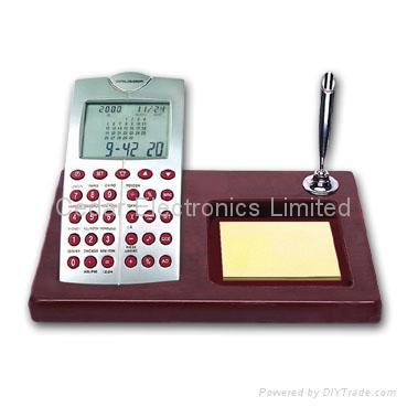 LCD Calendar Calculator on Stationery Wood Base 3