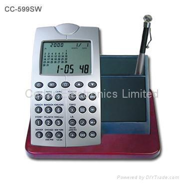 LCD Calendar Calculator on Stationery Wood Base 4