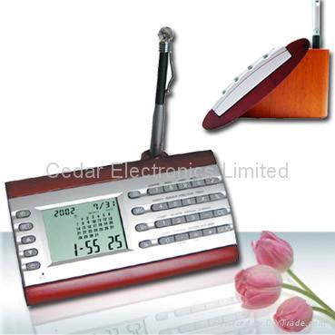 LCD Calendar Calculator on Stationery Wood Base 5