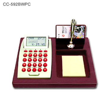 Wood Base Desk Perpedual Calendar w/ World Clock Calculator 3