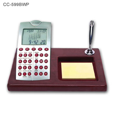 Wood Base Desk Perpedual Calendar w/ World Clock Calculator 4