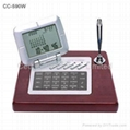 Wooden Desktop Perpetual Calendar w/ World Time Clock Calculator 5