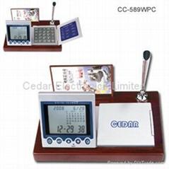 紅木座萬年曆(世界時鐘計算器電子台曆)