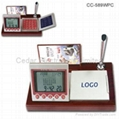 Wooden Base LCD Calendar Calculator with World Time Clock 2
