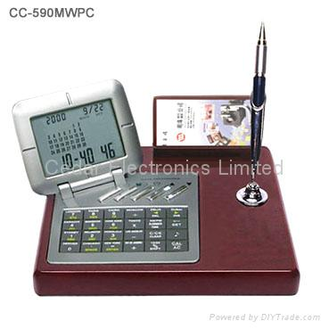 Wooden Base LCD Calendar Calculator with World Time Clock 3