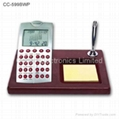 Wooden Base LCD Calendar Calculator with World Time Clock 4