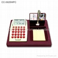 Wooden Base LCD Calendar Calculator with World Time Clock 5