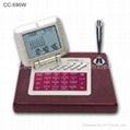 Wooden Desktop LCD Calendar Calculator with World Time Clock 1